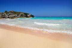 Bermuda`s famous pink sand beach. Pink sandy beach and turqoise blue water of Bermuda Stock Image
