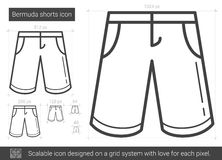 Bermuda shorts line icon. Bermuda shorts vector line icon isolated on white background. Bermuda shorts line icon for infographic, website or app. Scalable icon Royalty Free Stock Photo