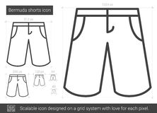 Bermuda shorts line icon. Bermuda shorts vector line icon isolated on white background. Bermuda shorts line icon for infographic, website or app. Scalable icon Royalty Free Stock Image