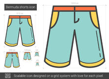 Bermuda shorts line icon. Bermuda shorts vector line icon isolated on white background. Bermuda shorts line icon for infographic, website or app. Scalable icon Stock Images