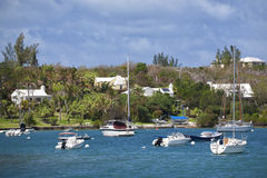 Bermuda Waterfront Pleasure Craft Stock Image