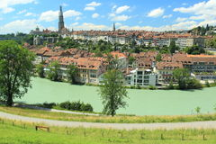 Bern. The Bern scenery seen from the hill over Aare river, Switzerland royalty free stock photo