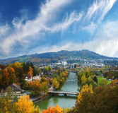 Bern. Autumnal view river Aar in Bern, Switzerland royalty free stock photo