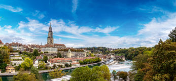 Bern and Berner Munster cathedral. Panoramic view of Bern and Berner Munster cathedral in Switzerland Stock Photography