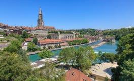 bern bridge city kościoła pejzażu nydegg komunalnych nydeggbruecke szwajcarski nydeggkirche widok Zdjęcie Royalty Free