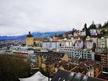 Bern, Switzerland. Bern, the capital city of Switzerland, is built around a crook in the Aare River. It traces its origins back to the 12th century, with Royalty Free Stock Photography