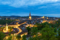Bern, the capital of Switzerland. Beautiful old town in night. Stock Photography