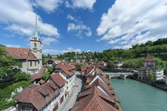 Bern. Church, bridge and houses with tiled rooftops, Bern, Switzerland stock images