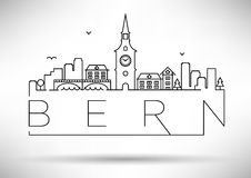 Bern City Silhouette lineare con progettazione tipografica Immagini Stock Libere da Diritti