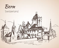 Bern city view sketch. Switzerland. Isolated on white background Stock Photo