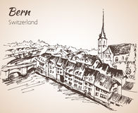 Bern city view sketch. Switzerland. Isolated on white background Royalty Free Stock Photo