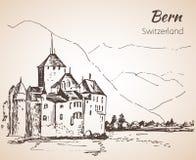 Bern city view sketch. Switzerland. stock illustration