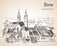 Bern city view sketch. Switzerland. Isolated on white background Royalty Free Stock Image
