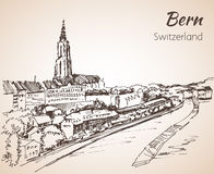 Bern city view sketch. Switzerland. Isolated on white background Royalty Free Stock Photos