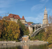 Bern cityscape with the Kirchenfeldbrucke bridge Stock Photo