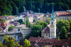 Bern cityscape. Swiss capital city. Nydeggkirche (Nydegg Church) Stock Photography