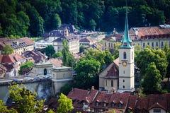 Bern cityscape. Swiss capital city. Nydeggkirche (Nydegg Church). stock photography