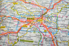 Bern. Close-up shot of a map of bern, switzerland stock photo