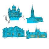 Bern Colored Landmarks Fotografia Stock Libera da Diritti