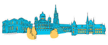 Bern Colored Panorama. Filled with Blue Shape and Yellow Highlights. Scalable Urban Cityscape Vector Illustration Stock Photo