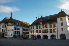 bern Die Schweiz - 25. August 2010: Rathaus-Hotel in Thun-Stadt Stockbild