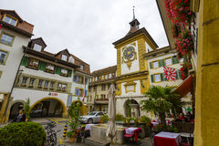 Bern Gate in City of Morat also called Murten. MORAT, SWITZERLAND - SEPTEMBER 15, 2015: The Bern Gate dates back to 1239, today's gate (Berntor) was built by Royalty Free Stock Photography