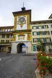 Bern Gate in City of Morat also named Murten. MORAT, SWITZERLAND - SEPTEMBER 15, 2015: The Bern Gate dates back to 1239, today's gate (Berntor) was built by Stock Image