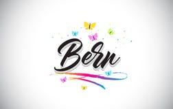 Bern Handwritten Vetora Word Text com borboletas e Swoosh colorido ilustração royalty free