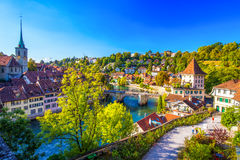 Bern historic city center with river Aare, Switzerland. View of Bern old city center with river Aare. Bern is capital of Switzerland and fourth most populous royalty free stock photos