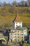 Bern, house visible from Nydeggbruecke Bridge Royalty Free Stock Image