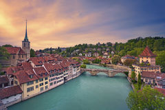 Bern. Image of Bern, capital city of Switzerland, during dramatic sunset stock photos
