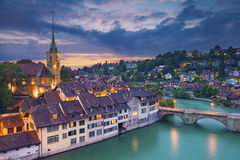 Bern. Image of Bern, capital city of Switzerland, during dramatic sunset stock photography