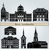 Bern landmarks and monuments. Isolated on blue background in editable vector file Stock Image