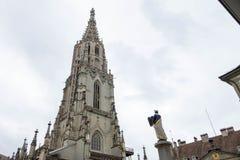 Bern Minster, église reformée dans la vieille ville de Berne Photos libres de droits