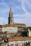 Bern Muenster towering over the City Stock Photo