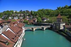 Bern- och Aare flod, Schweiz Royaltyfri Fotografi