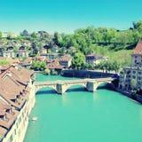 Bern- och Aare flod, Schweiz Royaltyfria Bilder