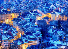 Bern Old Town snow covered in winter, Switzerland Stock Photos