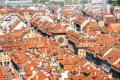 Bern old town in Switzerland. Beautiful aerial view on the old town with historical buildings in Bern city in Switzerland stock image
