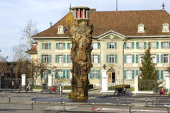 Bern, The Oppenheim fountain. BERN, SWITZERLAND - DECEMBER 22, 2015: The Oppenheim fountain, it was set into operation in 1983, the fountain is situated on stock photo