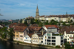 Bern skyline, Switzerland. Panoramic view on houses of Bern, capital of Switzerland. Aare river, flowing around the old central part of Bern, Switzerland's stock images