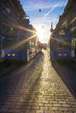 Bern street with tramway at sunset. Stock Image