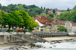 Bern, Switzerland. River Aare and old city of Bern. Switzerland royalty free stock photos
