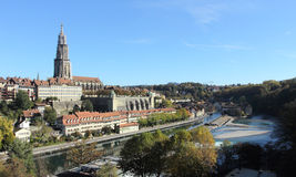 Bern, Switzerland. Aare river, flowing around the old central part of 's capital city stock photography