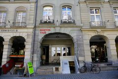The Albert Einstein Museum in the Old Town of Bern. Bern, Switzerland - April 20, 2017: The townhouse in Old Town is now the Albert Einstein Museum. In the Royalty Free Stock Images