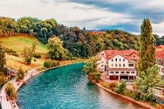 Bern, Switzerland - August 31, 2016: Landscape with Aare River in Bern, Switzerland. Bern, Switzerland - August 31, 2016: Landscape with Aare River in Bern of royalty free stock photos