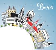 Bern Switzerland City Skyline avec des bâtiments de couleur, ciel bleu et illustration de vecteur