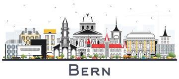 Bern Switzerland City Skyline con le costruzioni di colore isolate su W Immagine Stock Libera da Diritti