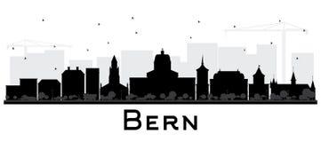Bern Switzerland City Skyline con le costruzioni nere isolate su W Fotografia Stock