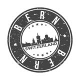 Bern Switzerland Europe Round Button City Skyline Design Stamp Vector Travel Tourism. Skyline with emblematic Buildings and Monuments of this famous city royalty free illustration